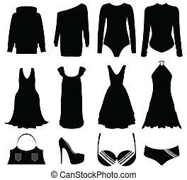 mujer, accesorios, ilustración, negro, especial, ropa