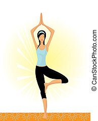 mujer, actitud del yoga, ilustración, tradicional, vector