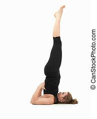 mujer, actitud del yoga, joven, se manifestar, difícil