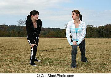 mujer, adolescente, jogging
