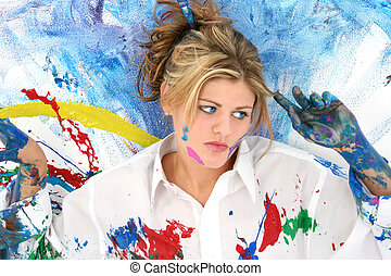 mujer, adolescente, pintura