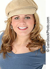 mujer, adolescente, sombrero