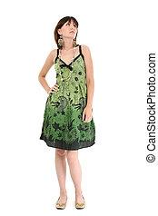 mujer, adolescente, vestido