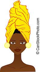 mujer africana, hermoso