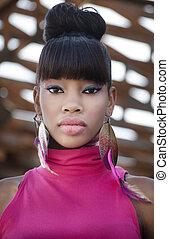 mujer, africano, américa, hermoso