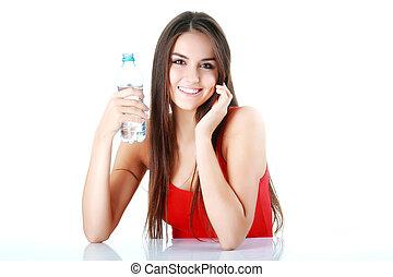mujer, agua bebida
