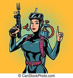 mujer, agua, buzo, spearfishing, arma de fuego