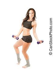 mujer, aislado, entrenamiento, joven, deportes, fondo., ...