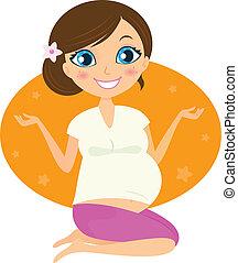 mujer, aislado, yoga, embarazada, postura, hermoso, blanco