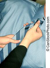 mujer, ajusta, boss\\\', corbata