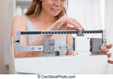 mujer, ajuste, escala