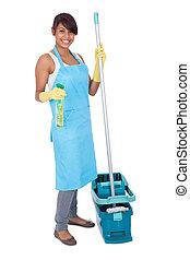 mujer, alegre, mientras, limpieza, diversión, teniendo