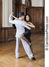 mujer, amaestrado, tango, bailarín, sonriente, macho