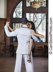 mujer, amaestrado, tango, mirar, mientras, hombre