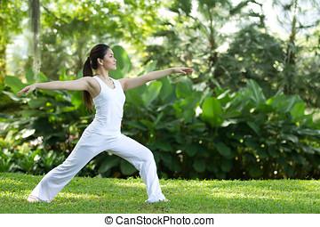 mujer, amaestrado, yoga