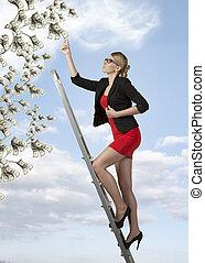 mujer, ambicioso, empresa / negocio