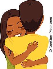 mujer americana, abrazar, africano