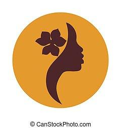 mujer americana africana, cara, icono