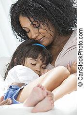 mujer americana africana, niño, madre, hija