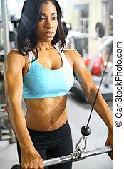 mujer americana, africano, condición física