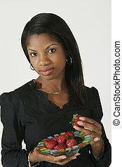 mujer americana, africano