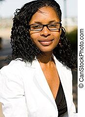 mujer, americano africano