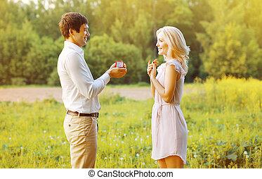 mujer, amor, -, pareja, concepto, el proponer, alianza, fecha, hombre