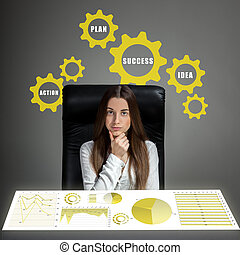 mujer, analizar, empresa / negocio, cálculos