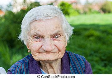 mujer anciana, sufrimiento, de, demencia