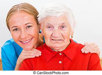 mujer anciana, y, médico joven