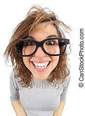 mujer, anteojos, ángulo, vista, sonriente, geek, de par en ...