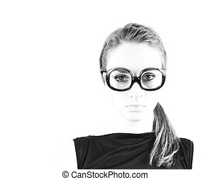 mujer, anteojos
