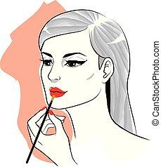 mujer, aplicación de maquillaje, lápiz labial