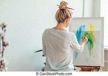 mujer, aprendizaje, joven, pintura, bollo de pelo