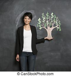 mujer, arbol dinero, tiza, asiático, dibujo, blackboard.