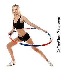 mujer, aro de hula, joven, aislado, condición física
