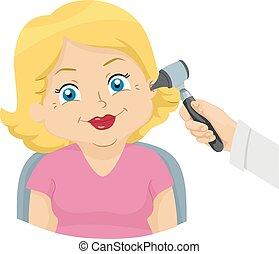 mujer, arriba, ilustración, oído, 3º edad, oreja, cheque