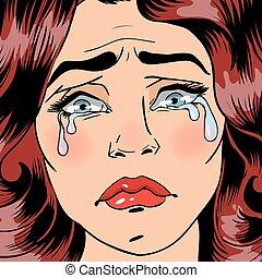 mujer, arte, banner., agotado, taponazo, vector, ilustración, crying., depression., woman.