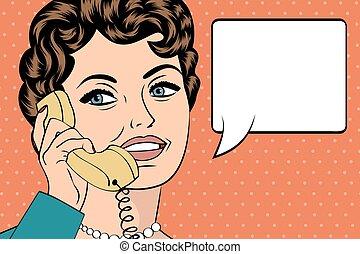 mujer, arte, charlar, ilustración, taponazo, teléfono