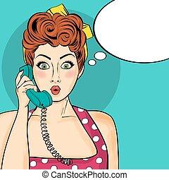 mujer, arte, charlar, taponazo, teléfono, discurso, retro,...