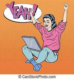 mujer, arte, computador portatil, joven, pinche arriba, manos, excitado