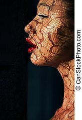 mujer, arte, luz del sol, makeup., creativo, asiático,...