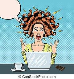 mujer, arte, oficina, computador portatil, taponazo, furioso...