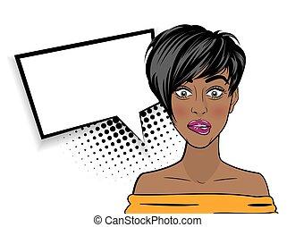 mujer, arte, taponazo, norteamericano, negro, sorprendido, africano, sexy
