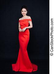 mujer asiática, con, moda, maquillaje, en, lujo, rojo, dress.