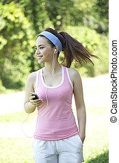 mujer asiática, ejercicio