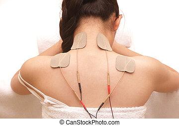 mujer asiática, es, hacer, masaje, de, eléctrico,...