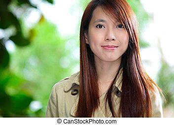 mujer, asiático