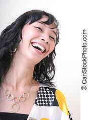 mujer, asiático, risa, joven