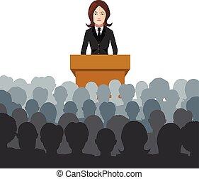 mujer, asideros, un, conferencia, a, un, audiencia, plano, ilustración